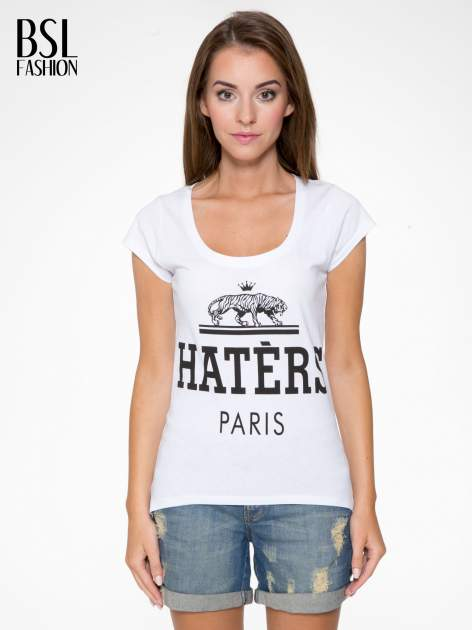 Biały t-shirt z napisem HATERS PARIS