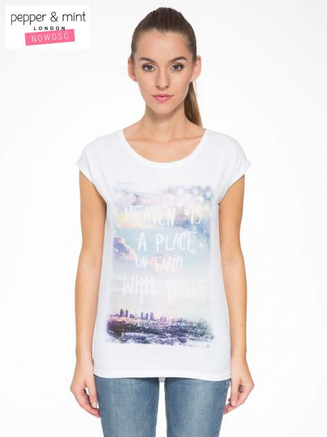 Biały t-shirt z napisem HEAVEN IS A PLACE ON EARTH WITH YOU