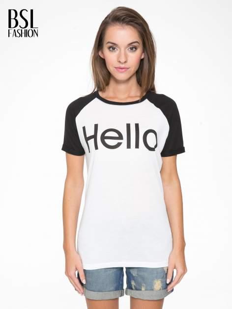 Biały t-shirt z napisem HELLO CHARLIE z przodu i na plecach