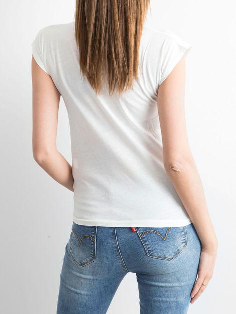 Biały t-shirt z napisem I HAD FAILED I ALSO GOOFY                                  zdj.                                  2