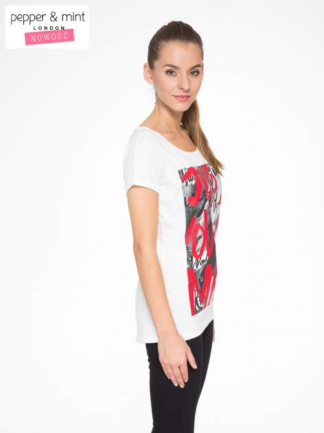 Biały t-shirt z napisem JUST YOU AND ME                                  zdj.                                  2
