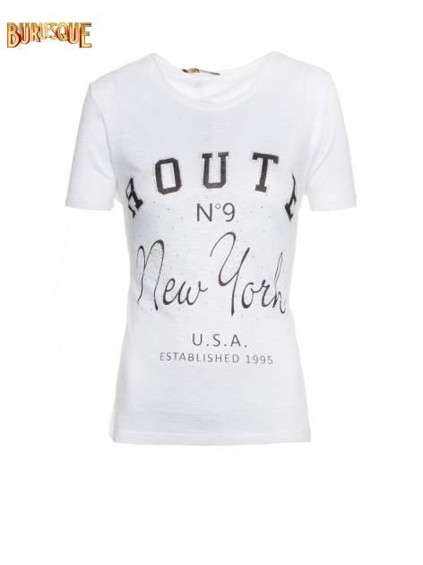 Biały t-shirt z napisem ROUTE NEW YORK