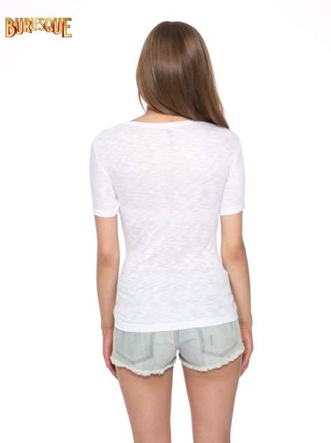 Biały t-shirt z napisem ROUTE NEW YORK                                  zdj.                                  4