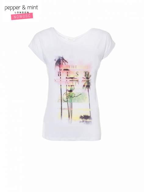 Biały t-shirt z napisem THE BEST IS YET TO COME                                  zdj.                                  2