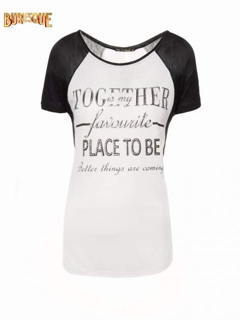 Biały t-shirt z napisem TOGETHER IS MY FAVOURITE PLACE TO BE                                  zdj.                                  1