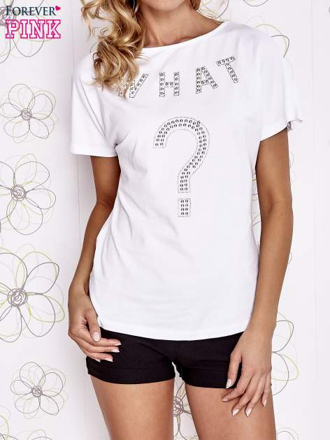 Biały t-shirt z napisem i trójkątnym wycięciem na plecach                                  zdj.                                  1