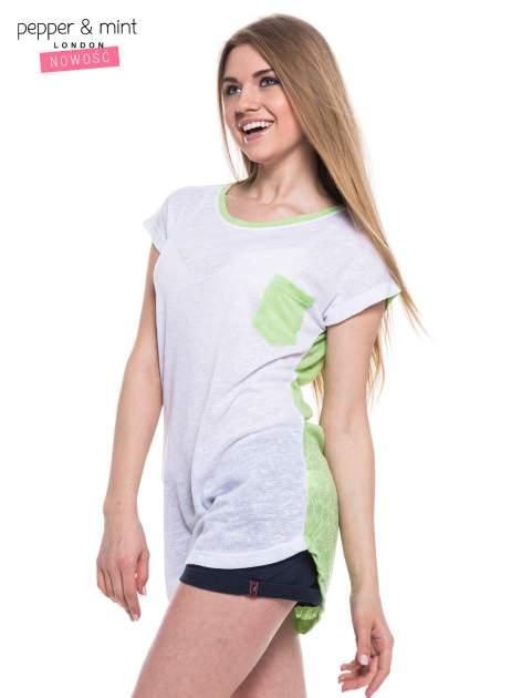 Biały t-shirt z wydłużanym tyłem w kolorze zieleni                                  zdj.                                  3