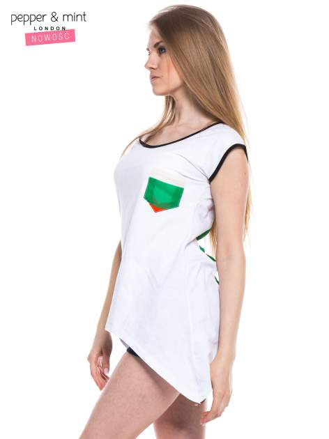 Biały t-shirt z wydłużonymi bokami i paskami z tyłu                                  zdj.                                  2