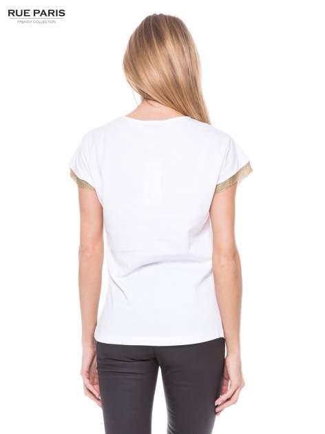 Biały t-shirt ze złotą aplikacją                                  zdj.                                  3