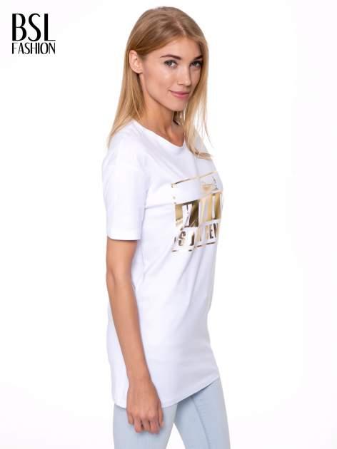 Biały t-shirt ze złotym nadrukiem HOMIES SOUTH CENTRAL                                  zdj.                                  3