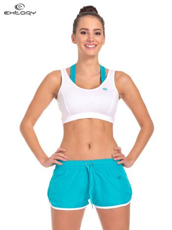 Biały top stanik sportowy na podwójnych ramiączkach