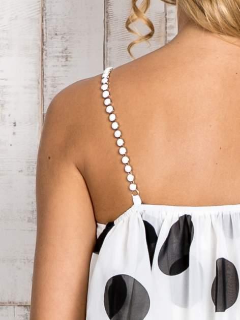 Biały top w grochy na cienkich biżuteryjnych ramiączkach                                  zdj.                                  5