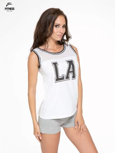 Biały top w stylu koszykarskim z nadrukiem LOS ANGELES i sportową lamówką                                  zdj.                                  3