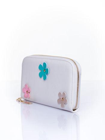 Biały zasuwany portfel w kwiatki                                  zdj.                                  3