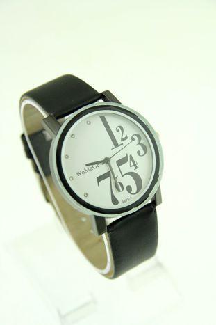 Biały zegarek damski z cyrkoniami na pasku