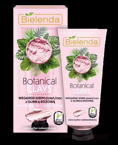 Bielenda Botanical Clays Różowa Glinka Wegański Krem na dzień i noc cera sucha i wrażliwa 50 ml