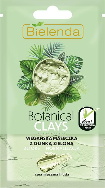 Bielenda Botanical Clays Zielona Glinka Wegańska Maseczka na twarz cera mieszana i tłusta 8g