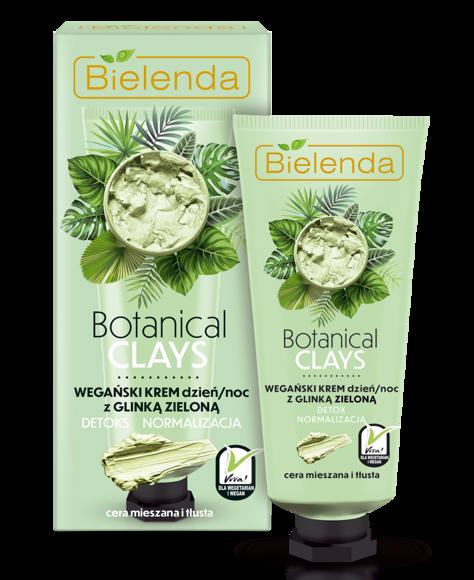 Bielenda Botanical Clays Zielona Glinka Wegański Krem na dzień i noc cera tłusta i mieszana 50 ml