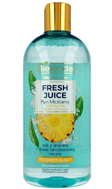 Bielenda Fresh Juice Płyn micelarny rozświetlający z wodą cytrusową Ananas 500 ml