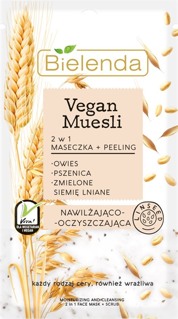 Bielenda Vegan Muesli Maseczka + Peeling 2w1 nawilżająco - oczyszczająca 8g