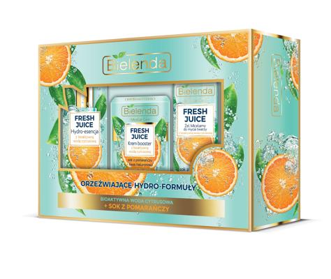 """Bielenda Zestaw prezentowy Fresh Juice Pomarańcza (krem 50ml+hydroesencja 110ml+żel micelarny 190g)"""""""