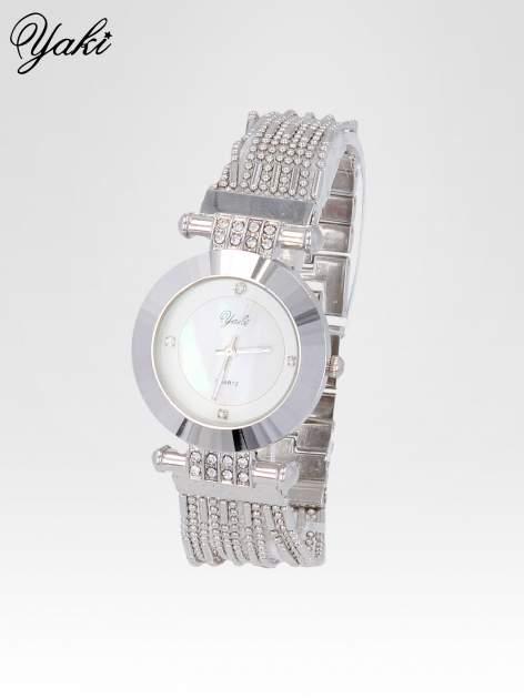 Biżuteryjny srebrny zegarek damski z białą tarczą                                  zdj.                                  2