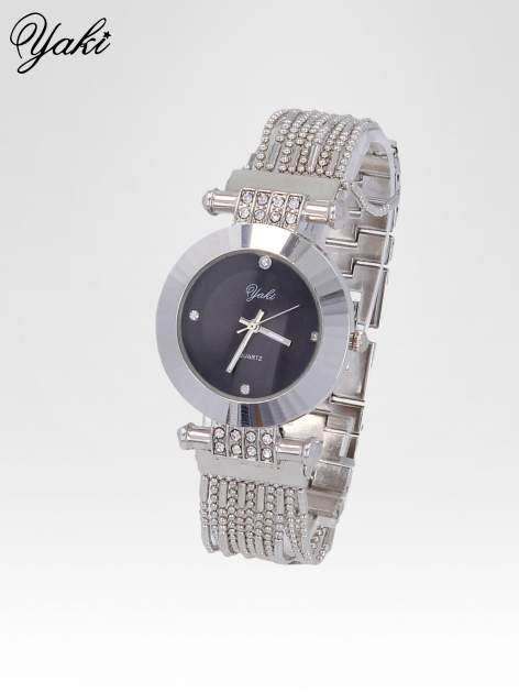Biżuteryjny srebrny zegarek damski z czarną tarczą                                  zdj.                                  2