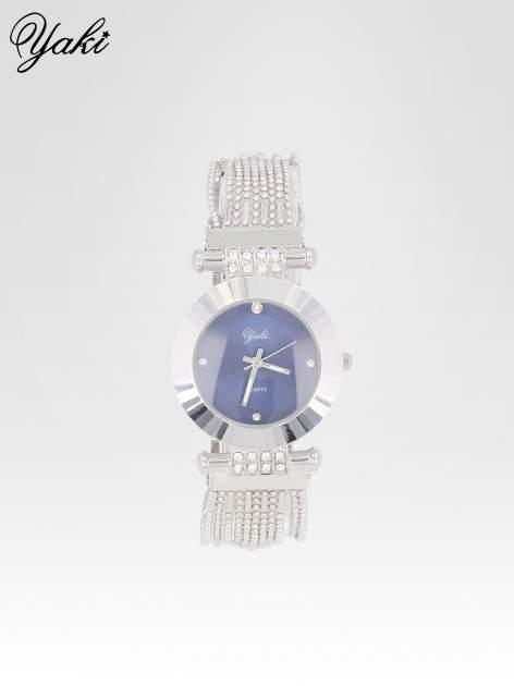Biżuteryjny srebrny zegarek damski z granatową tarczą                                  zdj.                                  1