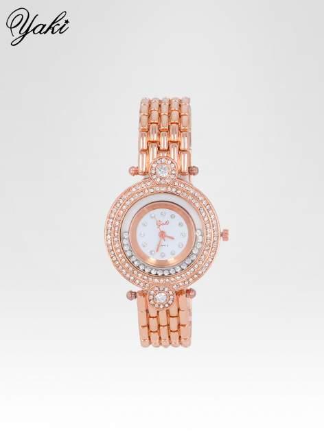 Biżuteryjny zegarek damski z cyrkoniową kopertą w kolorze różowego złota