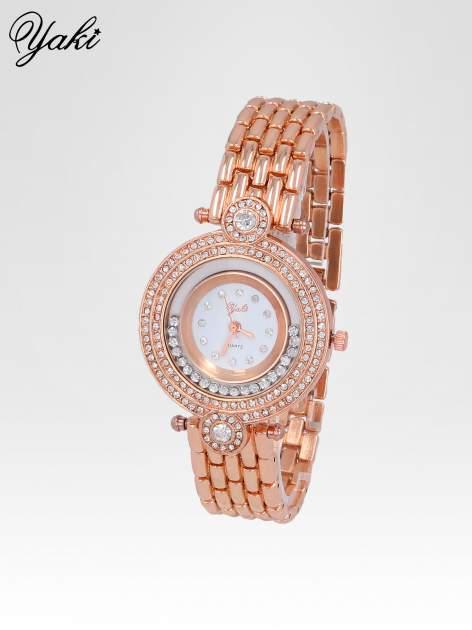 Biżuteryjny zegarek damski z cyrkoniową kopertą w kolorze różowego złota                                  zdj.                                  2