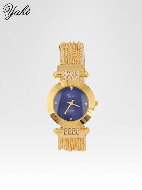 Biżuteryjny złoty zegarek damski z granatową tarczą