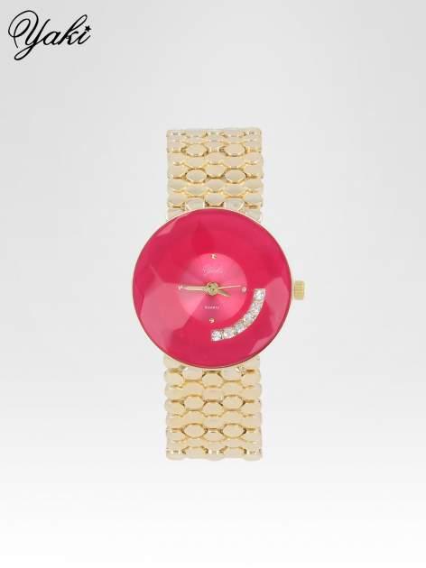 Biżuteryjny złoty zegarek damski z różową tarczą z cyrkoniami