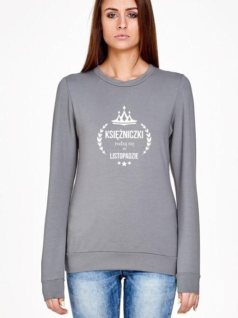 Bluza damska KSIĘŻNICZKA z nadrukiem szara                                  zdj.                                  1