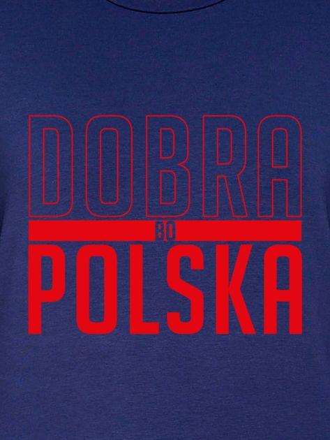Bluza damska patriotyczna nadruk DOBRA BO POLSKA granatowa                              zdj.                              2