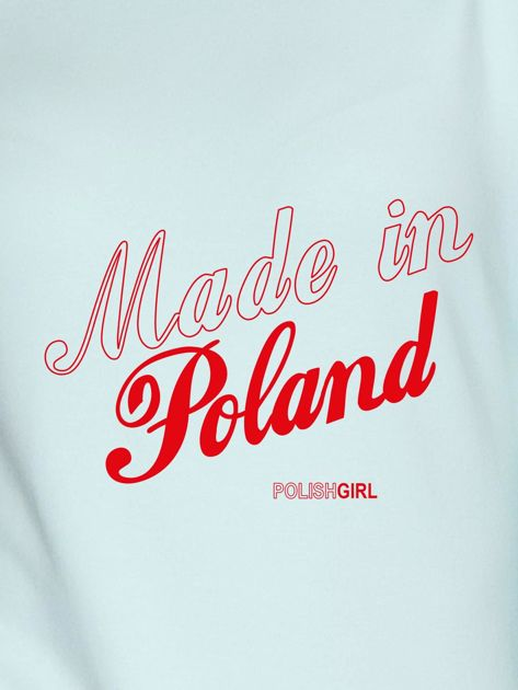 Bluza damska patriotyczna nadruk MADE IN POLAND miętowa                              zdj.                              2