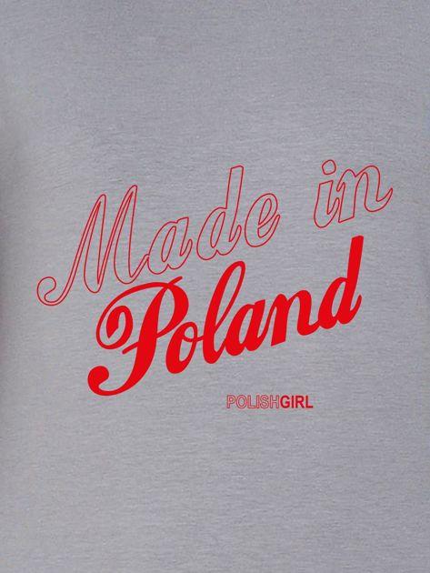 Bluza damska patriotyczna nadruk MADE IN POLAND szara                                  zdj.                                  2