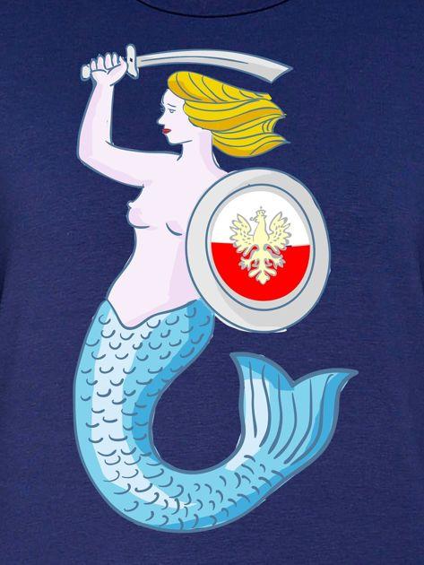 Bluza damska patriotyczna z Warszawską Syrenką granatowa                              zdj.                              2