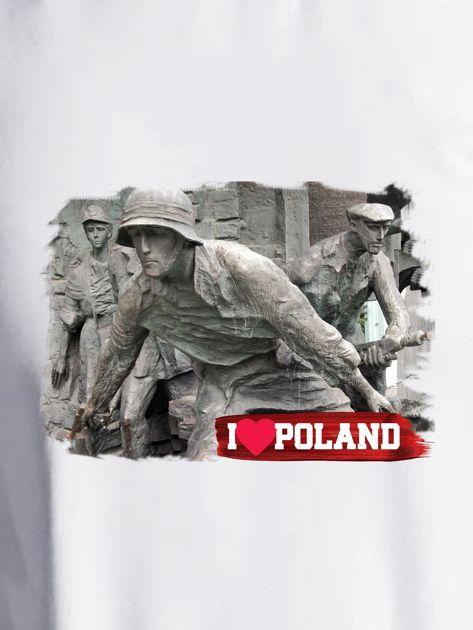Bluza damska patriotyczna z grafiką I LOVE POLAND ecru                                  zdj.                                  2