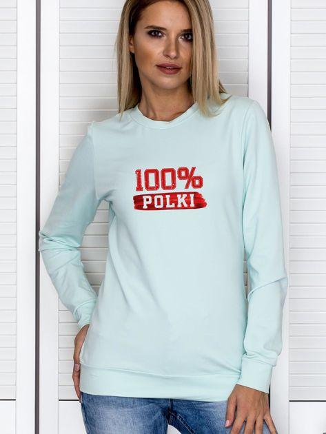 Bluza damska patriotyczna z nadrukiem 100% POLKI miętowa                              zdj.                              1
