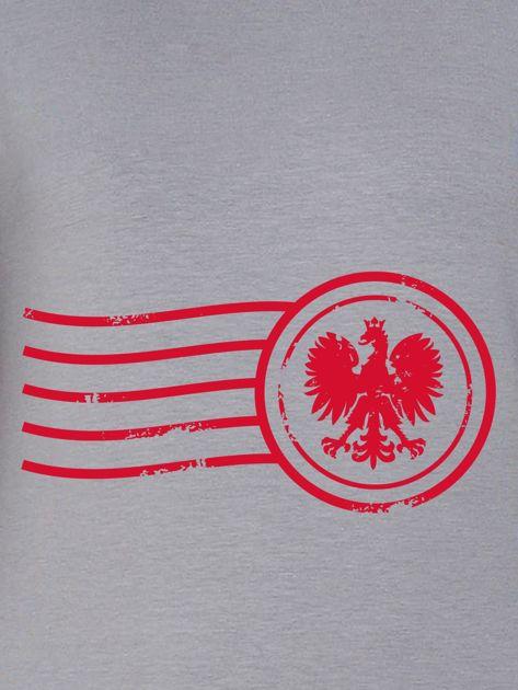 Bluza damska patriotyczna z nadrukiem Orła Białego szara                              zdj.                              2