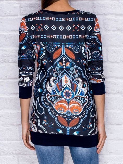 Bluza damska w folkowe wzory granatowa