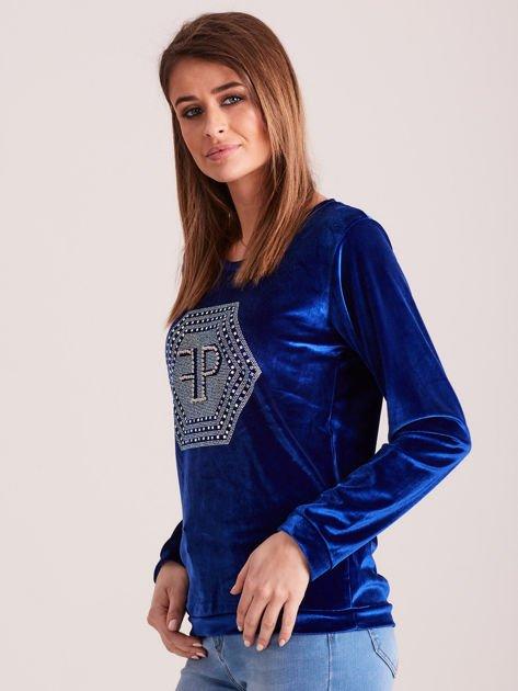 Bluza damska welurowa z błyszczącymi kamykami niebieska                              zdj.                              3