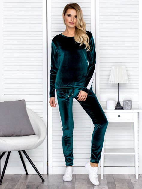 Bluza damska welurowa z jasnymi modułami ciemnozielona                              zdj.                              4