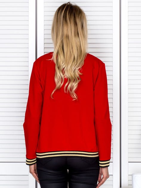 Bluza damska z błyszczącym ściągaczem czerwona                                  zdj.                                  2