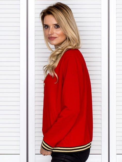 Bluza damska z błyszczącym ściągaczem czerwona                              zdj.                              5