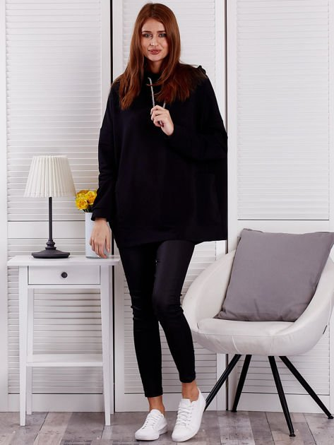 Bluza damska z kolorowymi troczkami czarna                              zdj.                              4