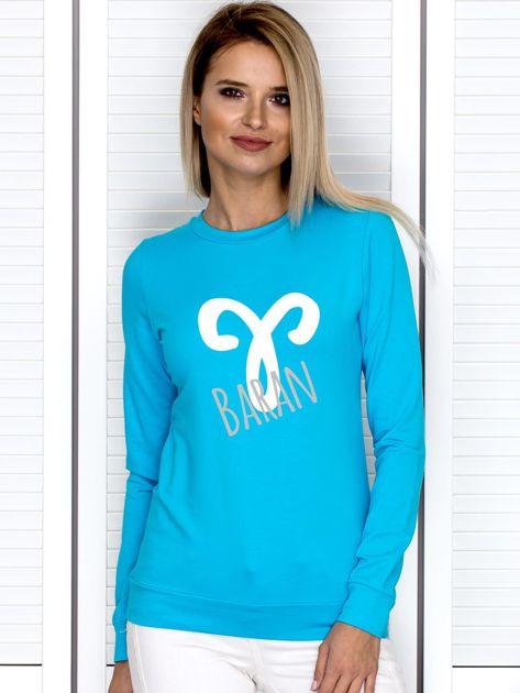 Bluza damska z motywem znaku zodiaku BARAN turkusowa                                  zdj.                                  1