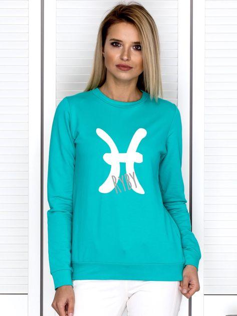 Bluza damska z motywem znaku zodiaku RYBY miętowa                                  zdj.                                  1