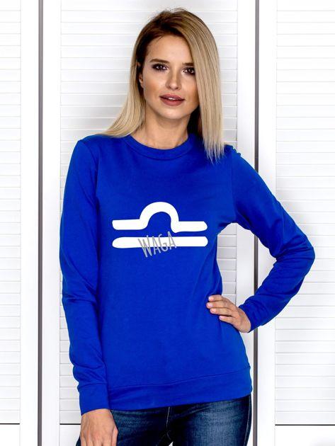 Bluza damska z motywem znaku zodiaku WAGA kobaltowa                              zdj.                              1