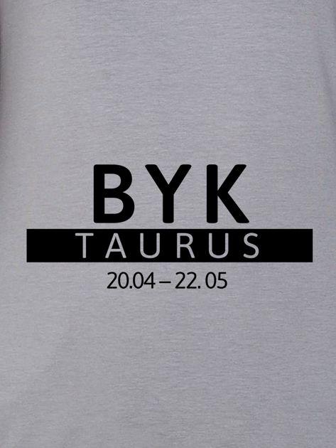 Bluza damska z nadrukiem znaku zodiaku BYK szara                                  zdj.                                  2